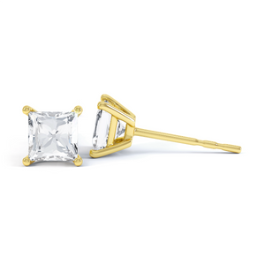 Valentia Yellow Gold Princess Moissanite Earrings