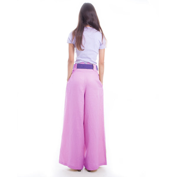 Wide Leg Linen Pants in Lilac by Hello My Goddess (back view)