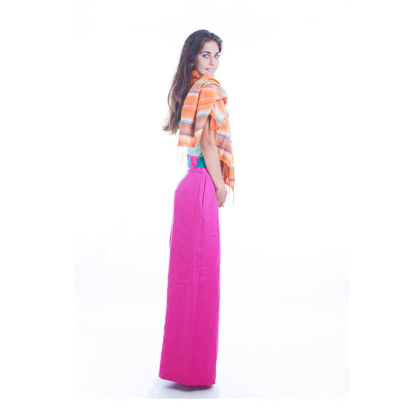 Hello My Goddess Wide Leg Linen Pants in Fuchsia (side view)