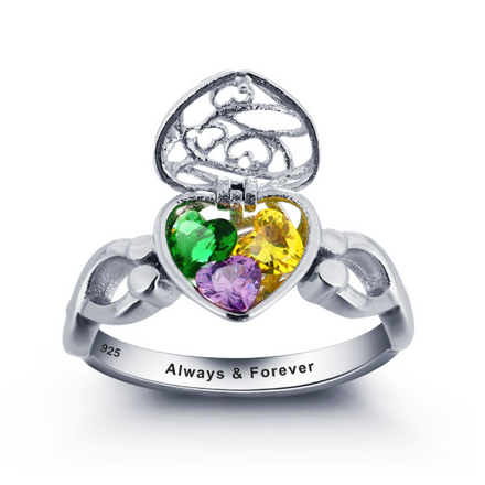 Personalised Ring, Sterling Silver Ring, Birthstone Ring, Infinity Ring, Heart Ring, Cage Ring, Engraving, Personalized Jewelry, Jewellery