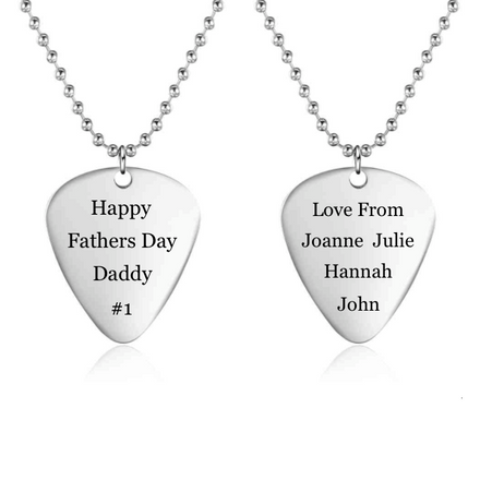 Personalised Necklace, Stainless Steel Necklace, Guitar Pick Necklace, Dog Tag Necklace, Engraving, Personalized Jewelry, Jewellery