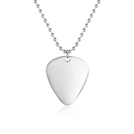 Necklace, Stainless Steel Necklace, Guitar Pick Necklace, Mens Necklace, Dog Tag Necklace, Jewelry, Jewellery