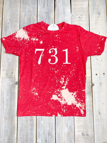 731 Red Bleached Tee Child Tee