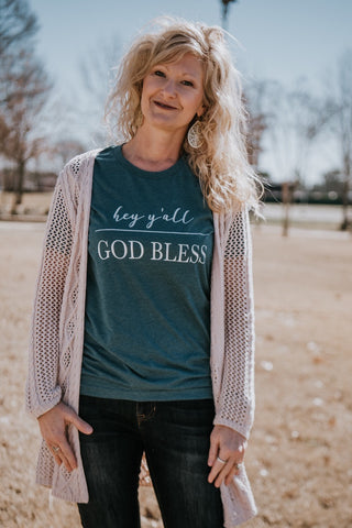 Hey Y'all | God Bless on Turquoise Tee - TUCKED & THREADED