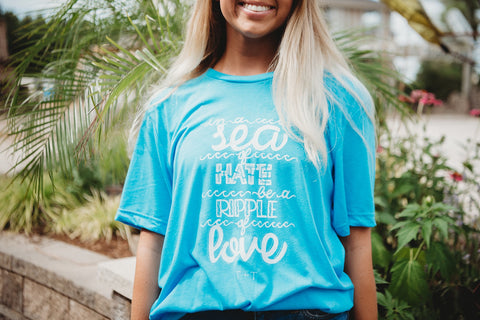 Be a Ripple of Love Blue Tee