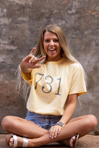 Area Code 731 Yellow Tee