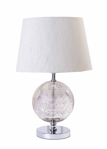 Designer Sphere Round Glass Base with Light Grey Patterned Fabric Shade-Table Lamp-Chic Concept