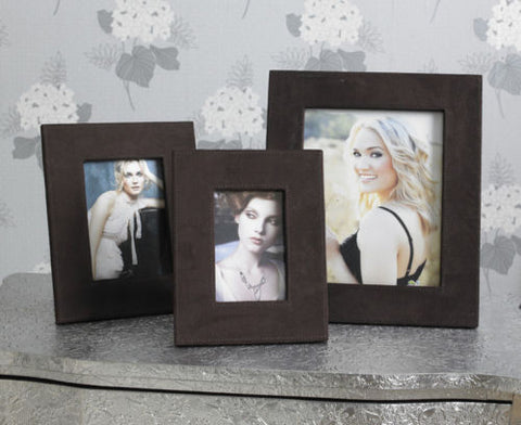 Set of 3 Brown Suede Photo Frames