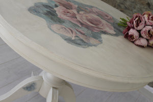 Cream Dining/Kitchen Table with Pink Rose Detail