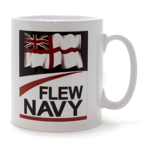 Flew Navy Mug with white ensign design: Mug side view with handle on the right