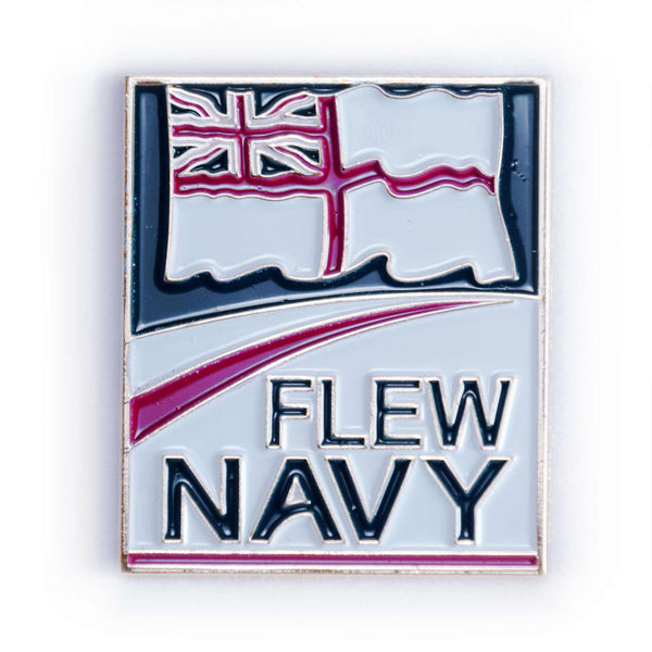 'Flew' Navy and 'Fly' Navy Mugs, badges and key rings