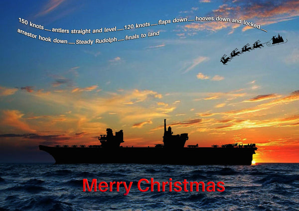 HMS Queen Elizabeth and Santa's sleigh christmas card
