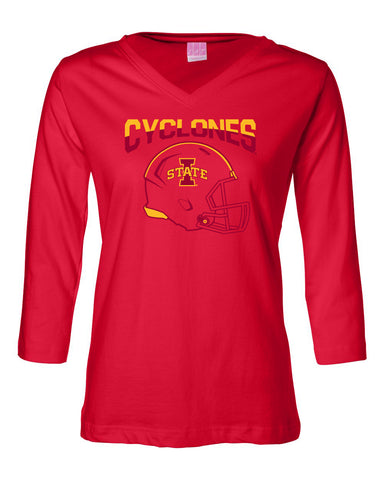 Women's Iowa State Cyclones ¾ Sleeve V-Neck Tee Shirt - ISU Cyclones Football Helmet