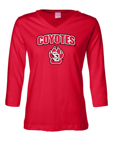 Women's South Dakota Coyotes ¾ Sleeve V-Neck Tee Shirt - Coyotes with USD Paw Logo