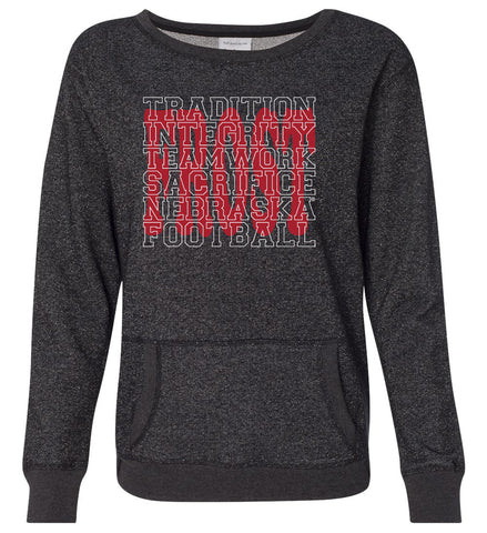 "Women's Nebraska Football with ""FROST"" Background Premium Glitter Sweatshirt"