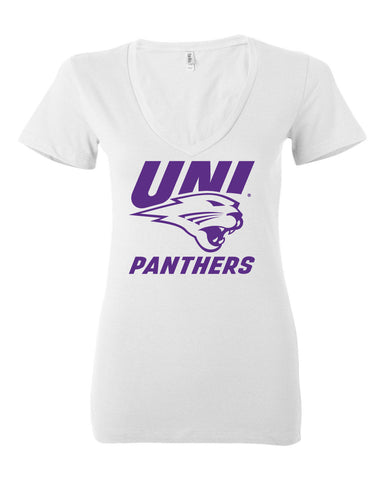 Women's Northern Iowa Panthers V-Neck Tee Shirt - Purple UNI Panthers Logo on White