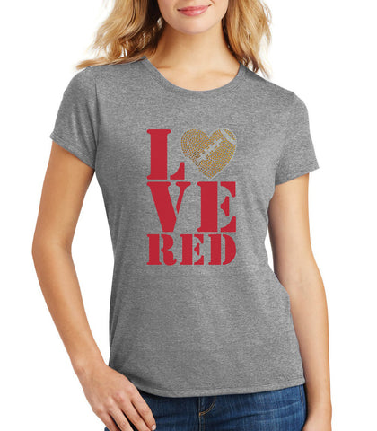 "Women's Stacked ""LOVE RED"" Rhinestone Football Premium Tri-Blend Tee Shirt"