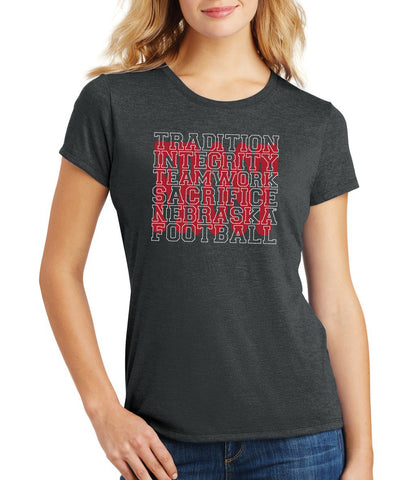"Women's Nebraska Football with ""FROST"" Background Premium Tri-Blend Tee Shirt"