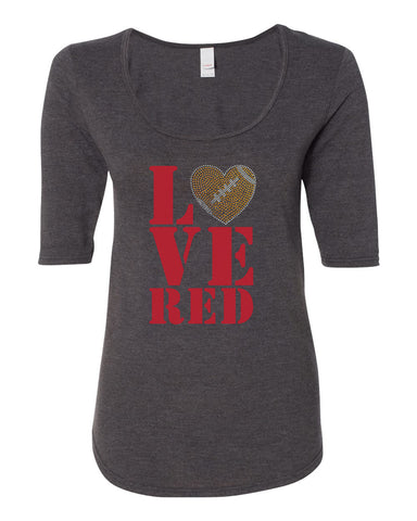 "Women's Stacked ""LOVE RED"" Rhinestone Football ½ Sleeve Scoop Neck Tri-Blend Premium Top"