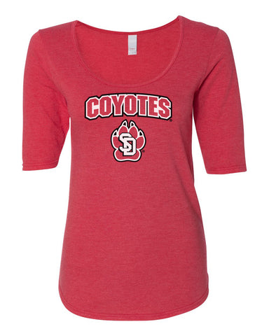Women's South Dakota Coyotes Premium Tri-Blend Scoop Neck Tee Shirt - Coyotes with USD Paw Logo