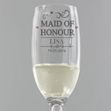 Personalised 'Maid Of Honour' Hearts Flute