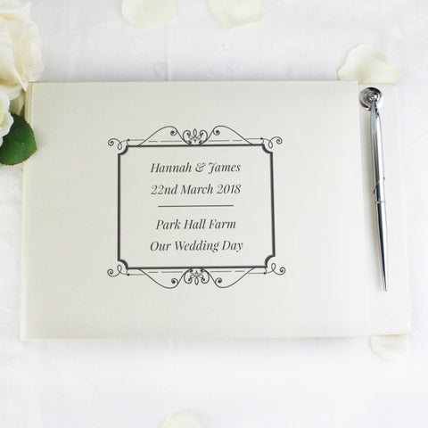 Personalised Black Border Guest Book & Pen