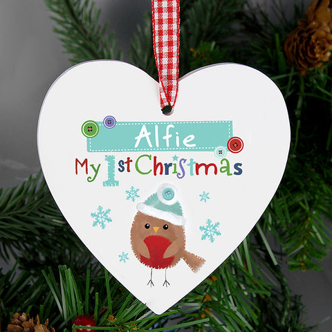 Personalised Robin 'My 1st Christmas' Wooden Heart Decoration