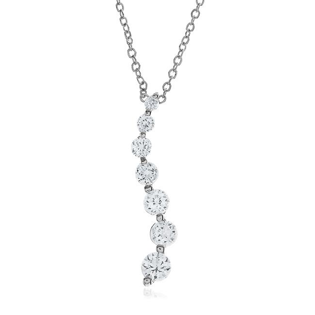 "2.00 Carat Cubic Zirconia Fashion Journey Pendant with 18"" Chain"