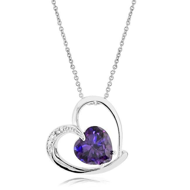 "Purple Cubic Zirconia Fashion Heart Pendant with 18"" Chain"