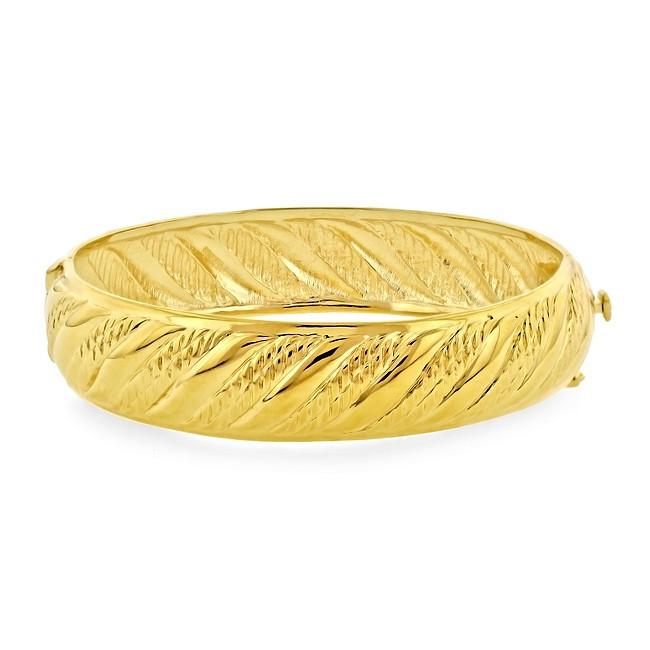 Grazie Italiana Collection: Gold-Plated Bronze Fluted Bangle Bracelet - 7.5""
