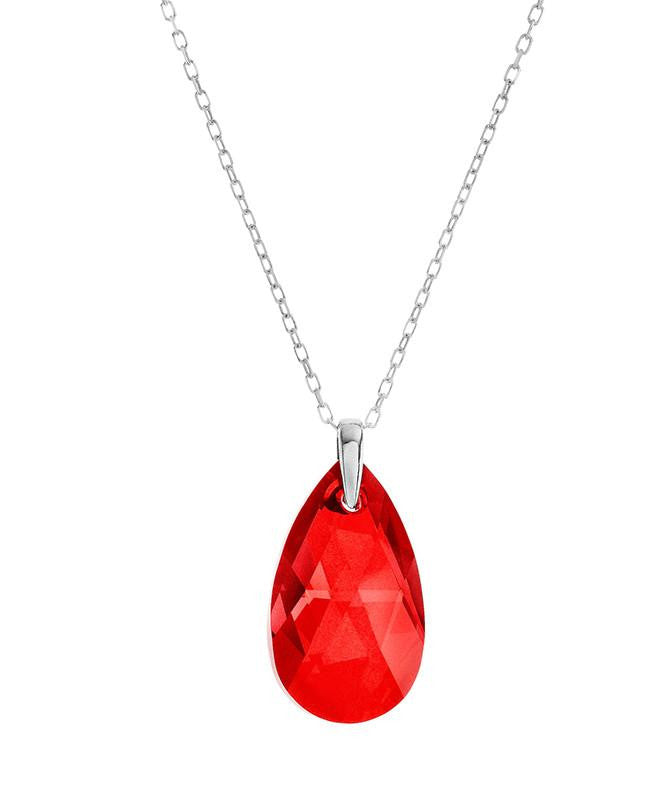 "Swarovski Red Crystal Teardrop Pendant with 18"" Sterling Silver Chain"
