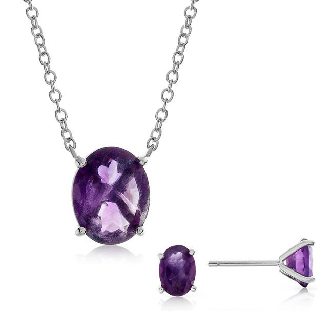 3.85 Carat Genuine Oval Amethyst Pendant & Earring Set in Sterling Silver