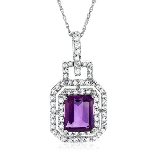 "3.90 Carat Genuine Amethyst & White Topaz Pendant in Sterling Silver with 18"" Chain"