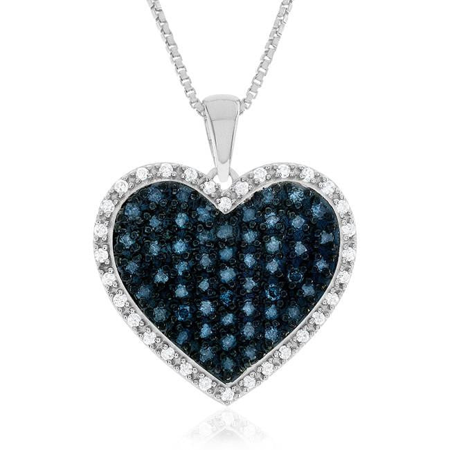 0.75 Carat Blue & White Diamond Heart Pendant in Sterling Silver with Chain