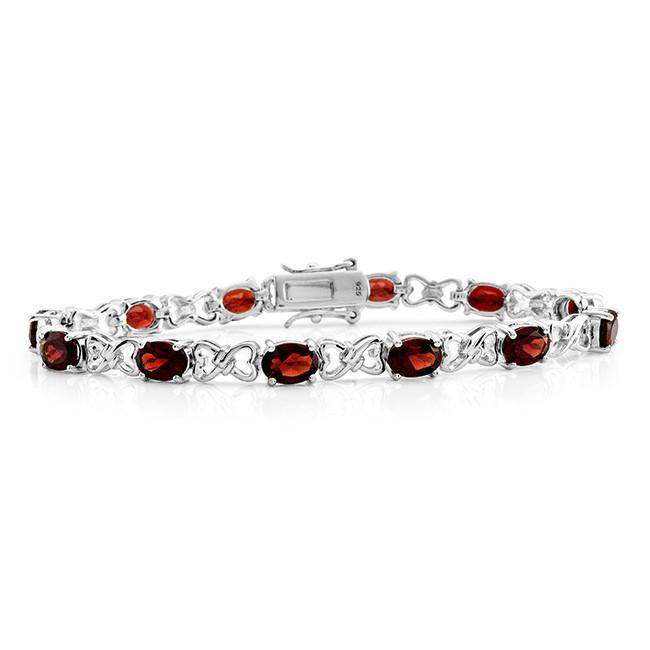 12.00 Carat Genuine Garnet Bracelet in Sterling Silver - 7.5""