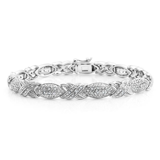 1/2 Carat Diamond Hugs & Kisses Link Bracelet in Sterling Silver - 7.25""
