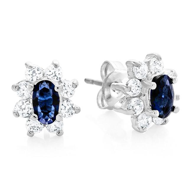 Dark Blue & White Cubic Zirconia Fashion Earrings