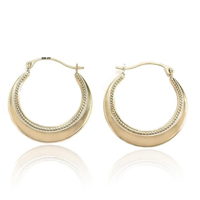 10K Yellow Gold Round Hoop Earrings