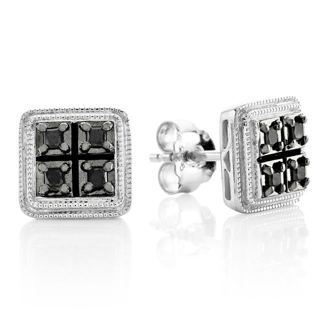 0.16 Carat Black Diamond Princess Stud Earrings in Sterling Silver