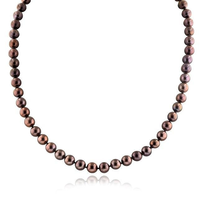 7mm Brown Pearl Necklace with 14K White Gold Clasp - 18""