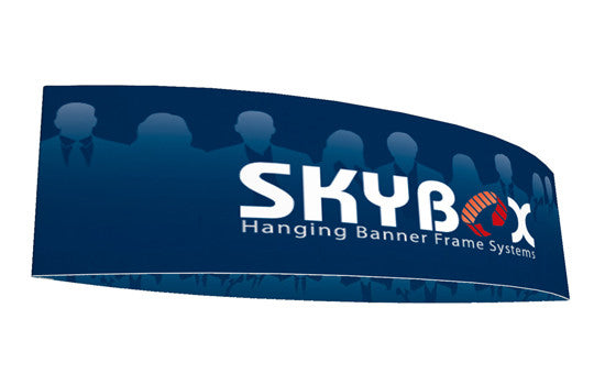 Football shaped hanging banner display inside and outside graphic package 10 foot by 42 inch