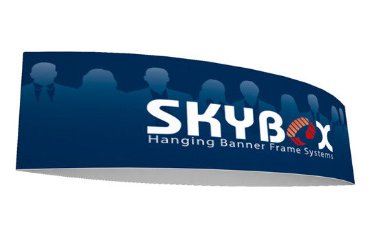 Football shaped hanging banner display outside graphic package 10 foot by 42 inch