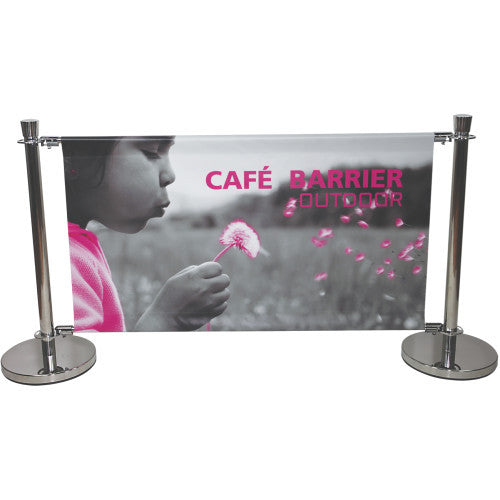 "Cafe and Business Barrier Banner Pole Stand Display 53.25"" wide by 30.5"" tall"