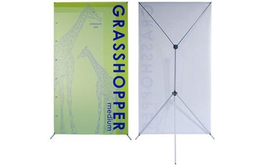 "Grasshopper adjustable banner stand 32 to 48"" by 79 to 86"""
