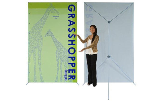 "Grasshopper adjustable banner stand 48 to 59"" by 83 to 98"""
