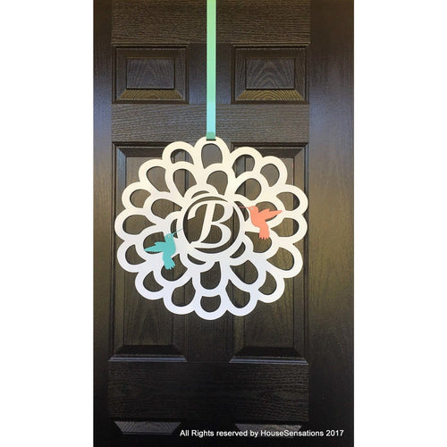 THE CHLOE: Flower & Hummingbirds Front Door Wreath and Metal Sign