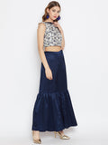Dupion Hand Block Printed Crop Top Sharara Set