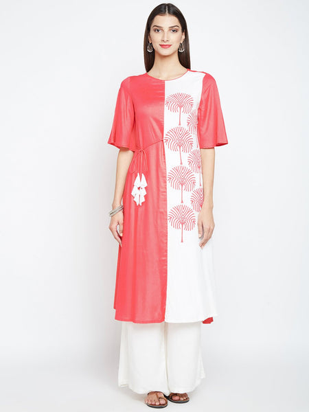 Cotton Viscose Colour Blocked Hand Block Printed Kurta