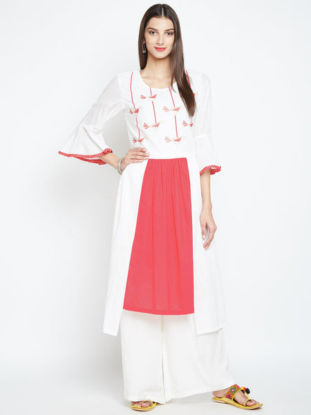 Cotton Slub Hand Block Printed Bell Sleeves Kurta