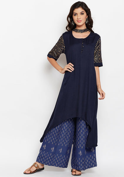 Studiorasa Cotton Viscose Block Printed Choker Kurta
